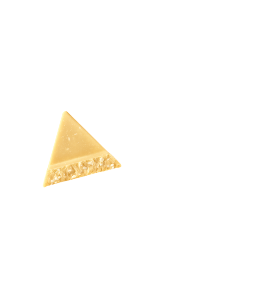 a piece of white toblerone chocolate